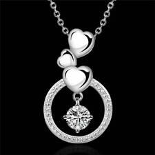 WOMEN lady 925 Silver Fashion Cute Charm Austrian Crystal Wedding Necklace New