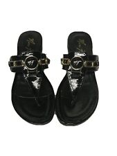 Marc Fisher Womens Black Leather Sandals Size 11M