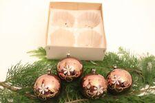 4 boules de Noël peint à la main marron paillettes grand Verre déco