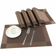"Placemats Heat-Resistant PVC Table Mats Woven Vinyl Placemats, Set of 4, 18""x12"""