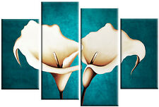 LARGE TEAL CREAM CANVAS PICTURES LILY FLOWER PAINTING WALL ART SPLIT MULTI 100cm