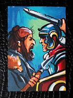 "Original art by Bastet ""Combat"" OOAK hand painted ACEO"