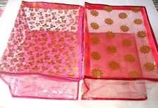 ( 2 PC )Oneside Clear Plastic Clothes Sari Saree Garment Storage,cover Box,Bags