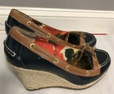 Milly for Sperry Blue Patent Leather Wedge Shoes sz 10 med