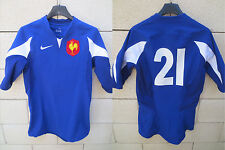 Maillot rugby QUINZE DE FRANCE porté n°21 NIKE worn shirt collection rare ML