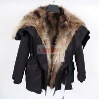 Fashion Women's Real Rabbit & Raccoon & Fox Fur Hooded Lined Coat Jacket Parka