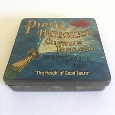 VINTAGE EARLY 1900'S PIPER HEIDSIECK CHAMAPAGNE FLAVOR CHEWING TOBACCO TIN BOX