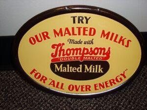 Circa 1930s Thompson Malted Milk Tin Sign, Waukesha, Wisconsin