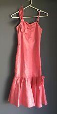 VINTAGE 1980's Taffeta Coral Column Dress w Flounce Tulle Hemline Size 8