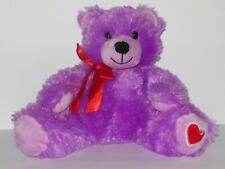 "8"" Animal Adventure Purple Teddy Bear Stuffed Animal Toy Red Heart Bow Soft"