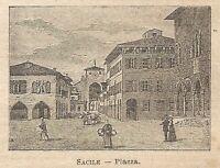 A0175 Sacile - Piazza - Stampa Antica del 1907 - Xilografia