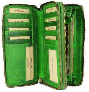 Hill Burry XXL Vintage Leder Damen Geldbörse Portemonnaie Organizer grün