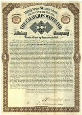Calaveras Water and Mining Company Bond Certificate.  California