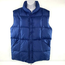 LANDS' END Mens Vest Goosedown Fill Puffer Down Snap Blue Size M 38-40