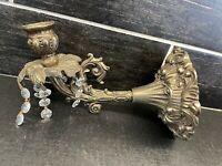 Vtg L&L WMC Gold Tone Candle Holder Crystal Prisms Wall Sconce Ornate Regency