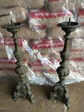 Paire grand bougeoirs candélabres pique-cierge  65 cm métal ? 19ème  église