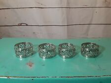 "4 Silver Tone Napkin Rings Holders Floral Cut Out 1""X 1.75"""