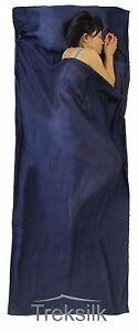 Treksilk: 240 cm NAVY BLUE 100% Mulberry Silk Single Sleeping Bag Liner Travel