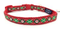 Red Argyle Dog Collar, Small, Douglas Paquette, Adjustable, NEW, FREE SHIP