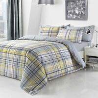Luxury Check Yellow Duvet Cover Sets with Pillow Case Single Double King Size