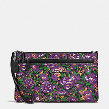 New Coach F57987 Wristlet With Pop Out Pouch In Rose Meadow Floral Print VIOLET