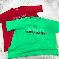 Lot 2 - Under Armour Men's L Loose Fit Heat Gear Athletic Tees Tops Green Red