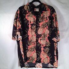 Hawaiian Aloha Shirt XL Pineapple Tropical Leaves Floral Leis Black Hilo Hattie