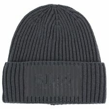 Hugo Boss Men's Beanie_Fuse Dark Grey Ribbed Beanie Hat (One Size Fits Most)