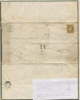 France #1a Cover CV$450.00 1850 10C Dark Bister Single Usage On Cover Usage