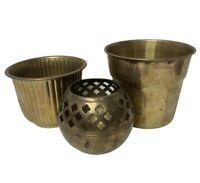 3pc Small Vintage Brass Gold Planter Flower Pant Pot lot MCM Mid Century India