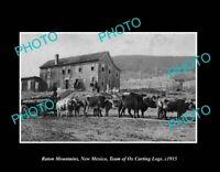 OLD POSTCARD SIZE PHOTO RATON MOUNTAINS NEW MEXICO THE OX CART TEAM c1915