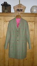 ladies 100% Irish wool green tweed coat with pink window squares & trim MAGEE
