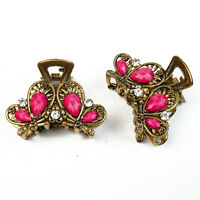 2x Haargreifer Schmetterlinge S Metall Strass Haarklammer Haarspangen rosa pink/