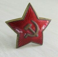 ORIGINAL Red Star Cap RUSSIAN BADGE Hat  Enamel USSR Military SOVIET USSR