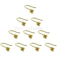 10pcs Sterling Gold Plated Earring Hooks Rose Flower Findings Ear Jewelry