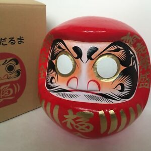"Japanese 17.25""H Red Daruma Doll Wish Making Good Business Success Made in Japan"