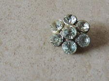 """Vintage Rhinestone Button  Glittery Glass Stones White Metal 7/8"""" from 1930"""