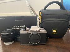 Fujifilm X-T100 - Silver XC15-45mm F3.5-5.6 OIS PZ kit lens with camera bag