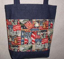 d5ad25d0effa NEW Handmade Large Patriotic Monuments Americana Flag Denim Tote Bag