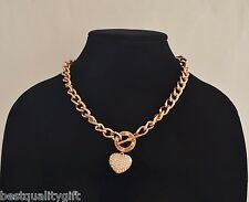 Toggle Puffed Heart Charm Necklace+Rhinestone New Guess Rose Gold Tone