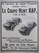 PUBLICITÉ 1925 LE COUPE-VENT KAP A L'ARRIÈRE DE VOTRE TORPÉDO - ADVERTISING