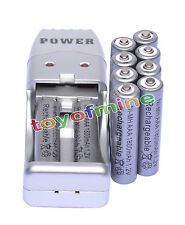 10X AAA 3A 1800mah1.2V NiMH rechargeable battery Grey+USB Charger