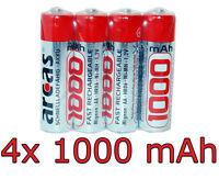 4x NI-MH AA 1,2V 1000 mAh / Akku Batterie 1000mAh HR06 Battery Battary Battarie