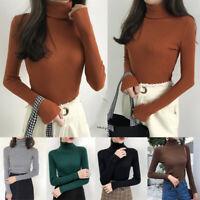 Autumn Women Knitted Turtleneck Sweater Jumper Long Sleeve Slim Sweater Pullover