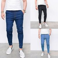 New Mens Slim Fit Stretch Elasticated Denim Pants Straight Skinny Jeans Trousers