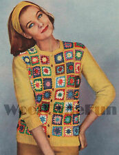 Vintage Crochet Pattern 1950s Lady's Jacket. Granny Squares. Knitted Sleeves.