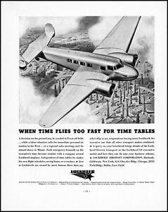 1937 Lockheed 12A Electra Junior aircraft Texas oil field retro art print ad XL5