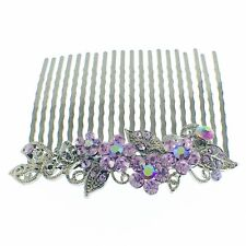 USA Hair Comb Hairpin use Swarovski Crystal Vintage Elegant Charming Purple Z12