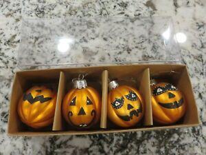 Pier 1 Glass Halloween Pumpkin Jack O Lantern Ornaments SET OF 4