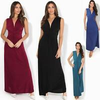 Womens Ladies Boho Long Maxi Dress Knot V Neck Sleeveless Pleated Summer Party